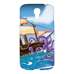 Pirate Ship Attacked By Giant Squid Cartoon  Samsung Galaxy S4 I9500/i9505 Hardshell Case by NickGreenaway