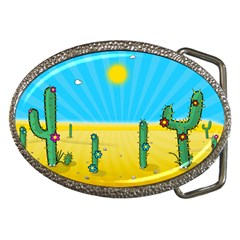 Cactus Belt Buckle (oval) by NickGreenaway