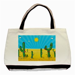 Cactus Twin Sided Black Tote Bag by NickGreenaway