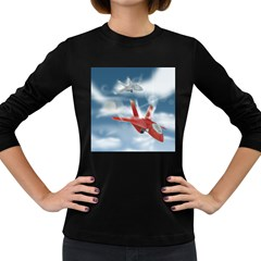 America Jet Fighter Air Force Women s Long Sleeve T Shirt (dark Colored) by NickGreenaway