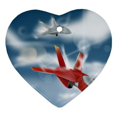 America Jet Fighter Air Force Heart Ornament (two Sides) by NickGreenaway