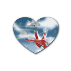 America Jet Fighter Air Force Drink Coasters 4 Pack (heart)  by NickGreenaway