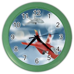 America Jet Fighter Air Force Wall Clock (color) by NickGreenaway