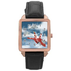 America Jet Fighter Air Force Rose Gold Leather Watch