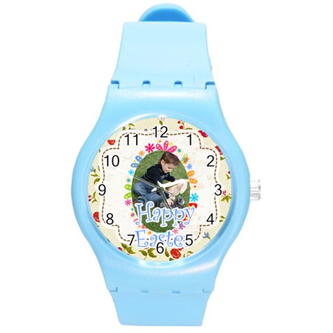 Easter By Easter   Round Plastic Sport Watch (m)   Qazuzpwv4rv2   Www Artscow Com Front