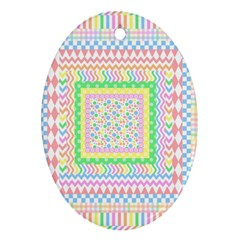 Layered Pastels Oval Ornament (two Sides) by StuffOrSomething