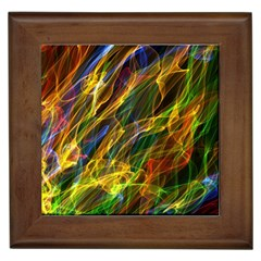Colourful Flames  Framed Ceramic Tile by Colorfulart23