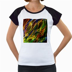 Colourful Flames  Women s Cap Sleeve T Shirt (white) by Colorfulart23