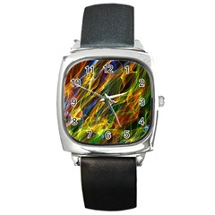 Colourful Flames  Square Leather Watch by Colorfulart23