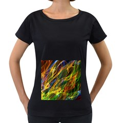 Colourful Flames  Women s Loose Fit T Shirt (black) by Colorfulart23