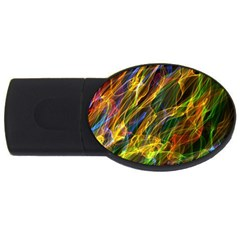 Colourful Flames  4gb Usb Flash Drive (oval) by Colorfulart23
