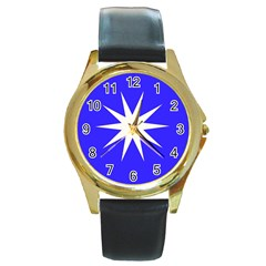 Deep Blue And White Star Round Leather Watch (gold Rim)  by Colorfulart23