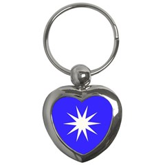 Deep Blue And White Star Key Chain (heart) by Colorfulart23