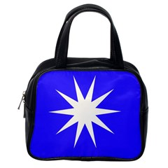 Deep Blue And White Star Classic Handbag (one Side) by Colorfulart23