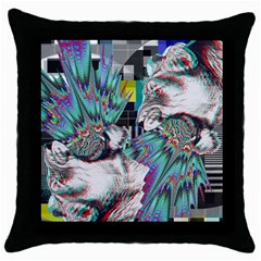 Lioness Glitch Black Throw Pillow Case by Contest1831200