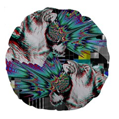 Lioness Glitch 18  Premium Round Cushion  by Contest1831200