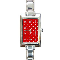 White Stars On Red Rectangular Italian Charm Watch by StuffOrSomething