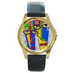 Face Round Leather Watch (gold Rim)  by Siebenhuehner