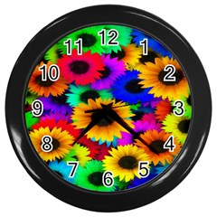Colorful Sunflowers Wall Clock (black) by StuffOrSomething