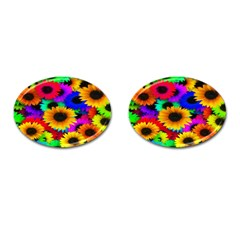 Colorful Sunflowers Cufflinks (oval) by StuffOrSomething
