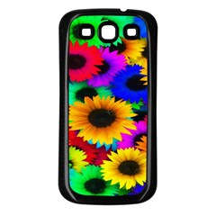 Colorful Sunflowers Samsung Galaxy S3 Back Case (black) by StuffOrSomething