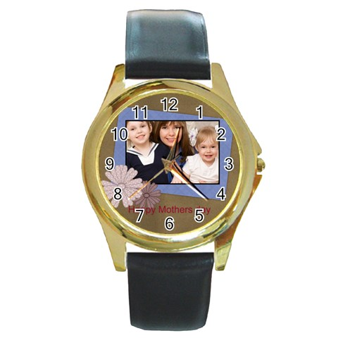 Mothers Day By Mom   Round Gold Metal Watch   7pk7tyzloptq   Www Artscow Com Front