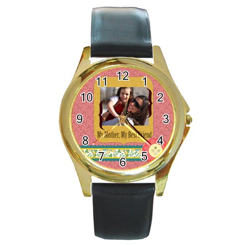 Mothers Day By Mom   Round Gold Metal Watch   Jr1o9xblfxul   Www Artscow Com Front