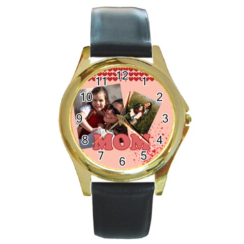 Mothers Day By Mom   Round Gold Metal Watch   J8e1m31auybs   Www Artscow Com Front