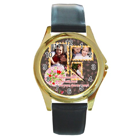 Mothers Day By Mom   Round Gold Metal Watch   Swe62lba73hc   Www Artscow Com Front