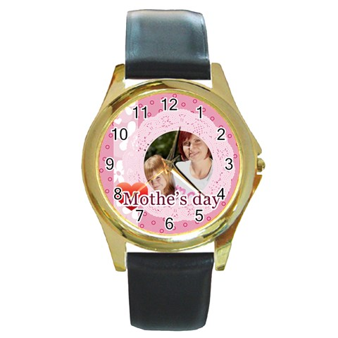 Mothers Day By Mom   Round Gold Metal Watch   C3t1zucjvkd1   Www Artscow Com Front