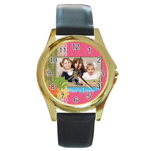 Mothers Day By Mom   Round Gold Metal Watch   4p6zkugwkdcx   Www Artscow Com Front