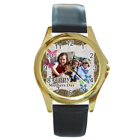 Mothers Day By Mom   Round Gold Metal Watch   Ruwixho14tlt   Www Artscow Com Front