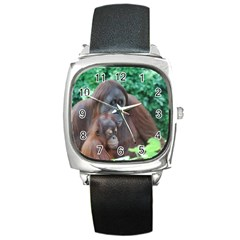 Orangutan Family Square Leather Watch by AnimalLover
