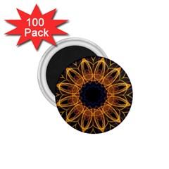 Yellow Purple Lotus Mandala 1 75  Button Magnet (100 Pack) by Zandiepants
