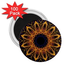 Yellow Purple Lotus Mandala 2.25  Button Magnet (100 pack) by Zandiepants