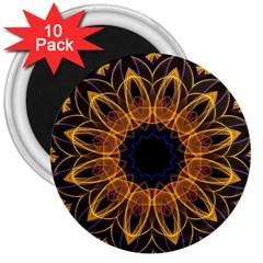 Yellow Purple Lotus Mandala 3  Button Magnet (10 pack)