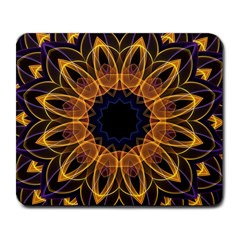 Yellow Purple Lotus Mandala Large Mouse Pad (rectangle) by Zandiepants