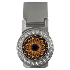 Yellow Purple Lotus Mandala Money Clip (cz) by Zandiepants