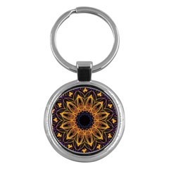 Yellow Purple Lotus Mandala Key Chain (round)