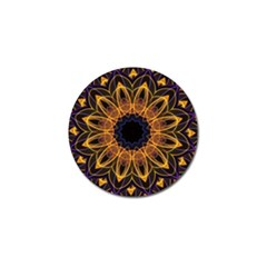 Yellow Purple Lotus Mandala Golf Ball Marker 4 Pack by Zandiepants