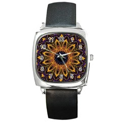 Yellow Purple Lotus Mandala Square Leather Watch by Zandiepants