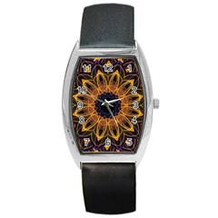 Yellow Purple Lotus Mandala Tonneau Leather Watch by Zandiepants