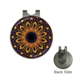 Yellow Purple Lotus Mandala Hat Clip With Golf Ball Marker by Zandiepants