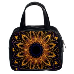 Yellow Purple Lotus Mandala Classic Handbag (two Sides) by Zandiepants