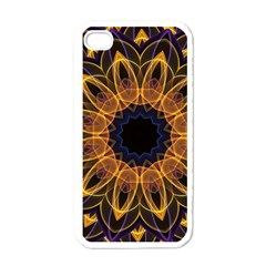 Yellow Purple Lotus Mandala Apple Iphone 4 Case (white) by Zandiepants