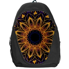 Yellow Purple Lotus Mandala Backpack Bag by Zandiepants