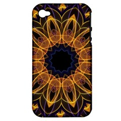 Yellow Purple Lotus Mandala Apple Iphone 4/4s Hardshell Case (pc+silicone) by Zandiepants