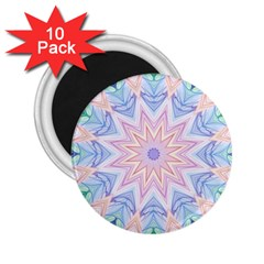 Soft Rainbow Star Mandala 2.25  Button Magnet (10 pack) by Zandiepants