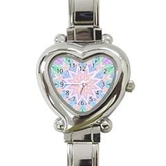Soft Rainbow Star Mandala Heart Italian Charm Watch  by Zandiepants