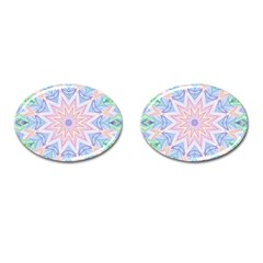 Soft Rainbow Star Mandala Cufflinks (oval) by Zandiepants